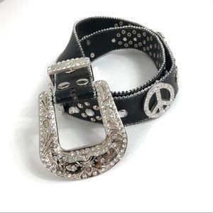 Black Leather Peace Sign Bling Encrusted Belt L